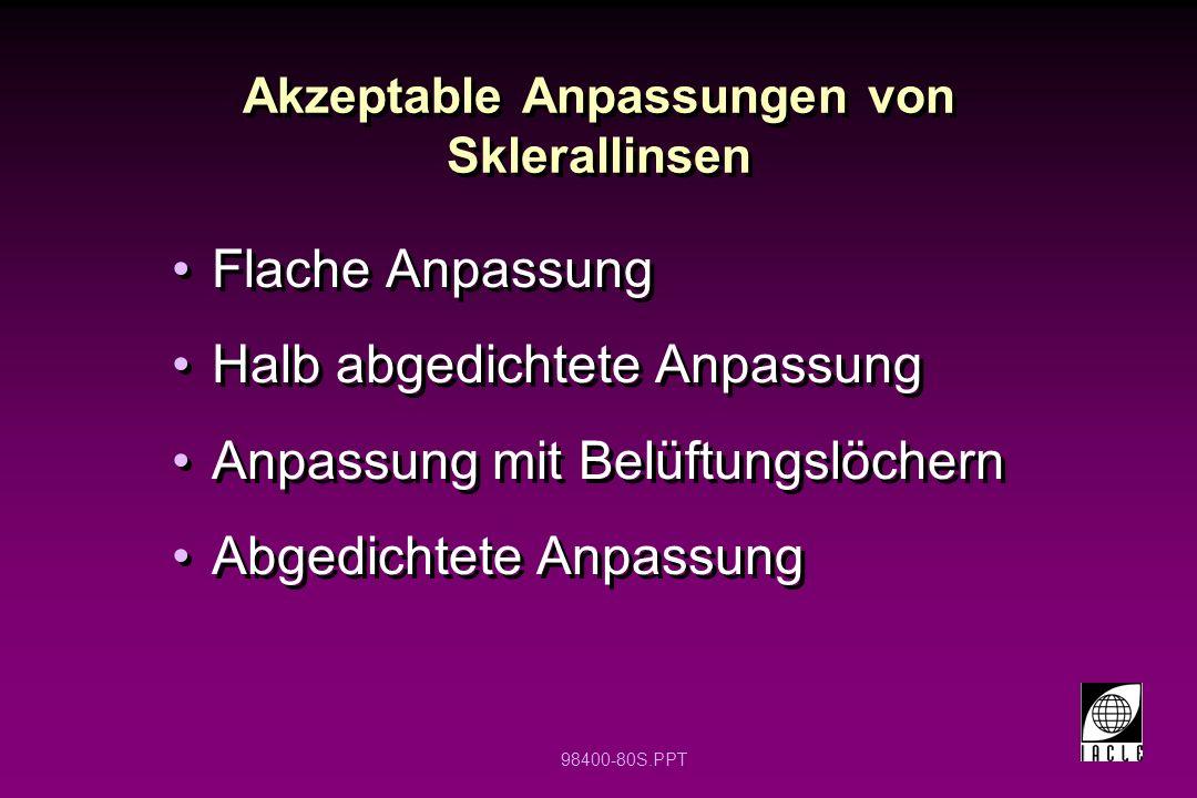 Akzeptable Anpassungen von Sklerallinsen