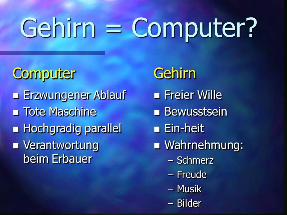 Gehirn = Computer Computer Gehirn Erzwungener Ablauf Tote Maschine