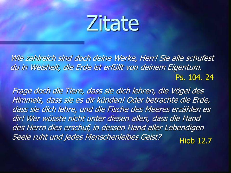 Zitate Ps. 104. 24. Wie zahlreich sind doch deine Werke, Herr! Sie alle schufest du in Weisheit, die Erde ist erfüllt von deinem Eigentum.