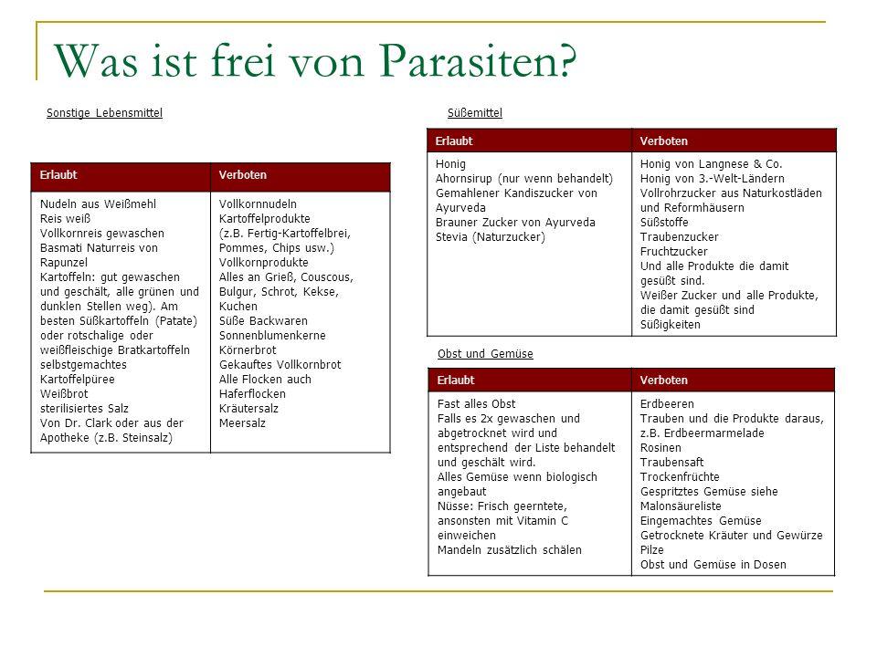 Was ist frei von Parasiten