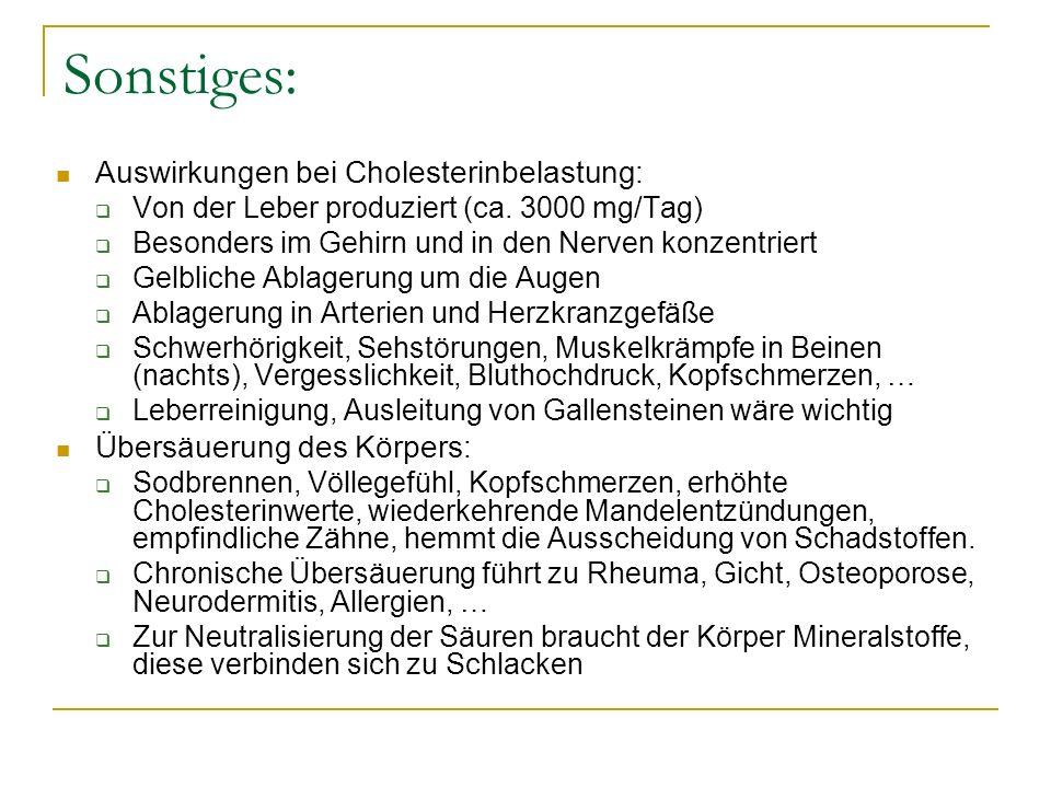 Sonstiges: Auswirkungen bei Cholesterinbelastung: