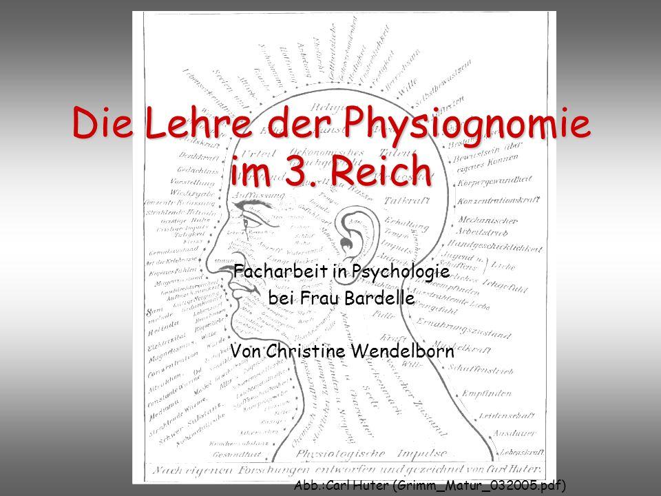 Die Lehre der Physiognomie im 3. Reich