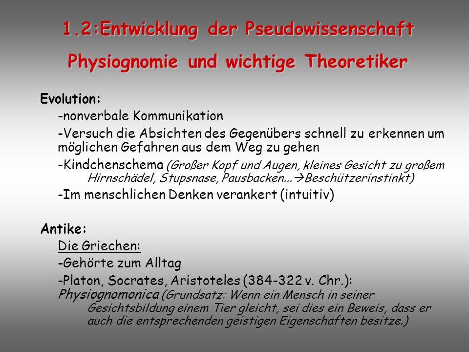 1.2:Entwicklung der Pseudowissenschaft Physiognomie und wichtige Theoretiker