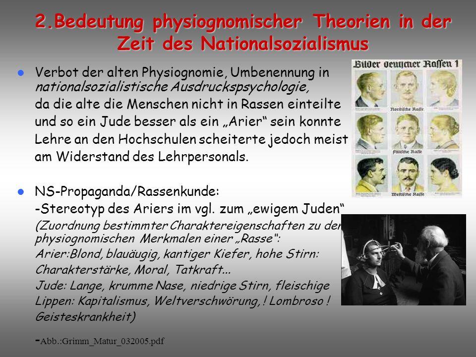 2.Bedeutung physiognomischer Theorien in der Zeit des Nationalsozialismus
