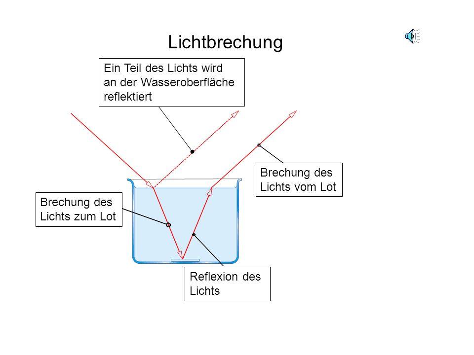 Lichtbrechung Ein Teil des Lichts wird an der Wasseroberfläche