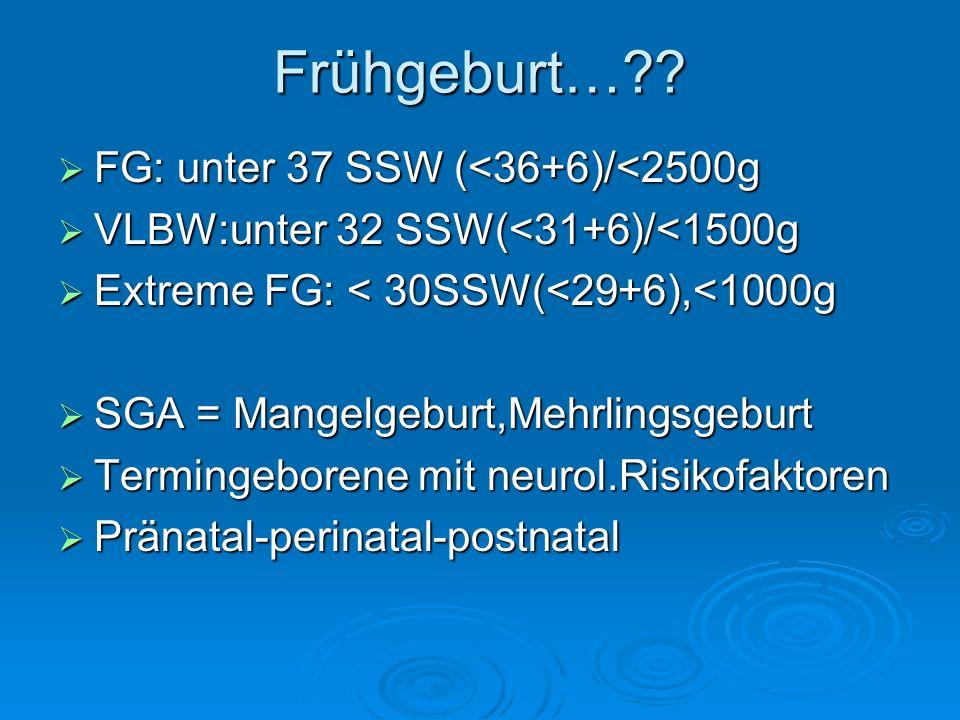 Frühgeburt… FG: unter 37 SSW (<36+6)/<2500g
