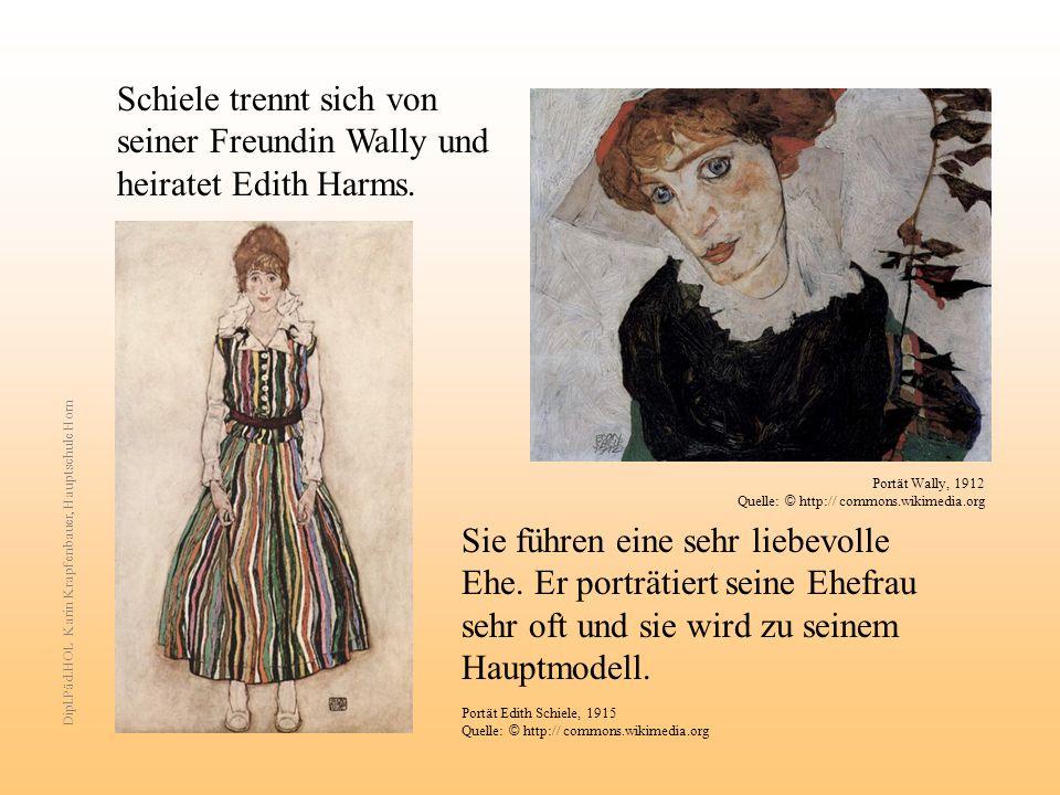 Schiele trennt sich von seiner Freundin Wally und heiratet Edith Harms.