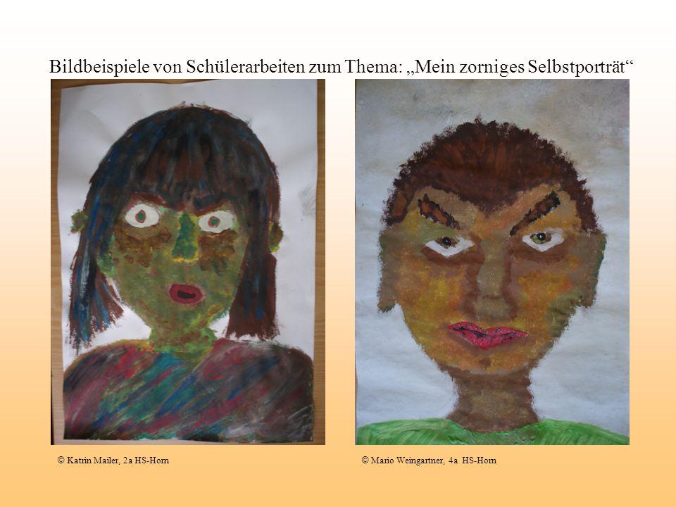 """Bildbeispiele von Schülerarbeiten zum Thema: """"Mein zorniges Selbstporträt"""