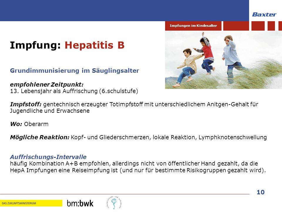 Impfung: Hepatitis B Grundimmunisierung im Säuglingsalter