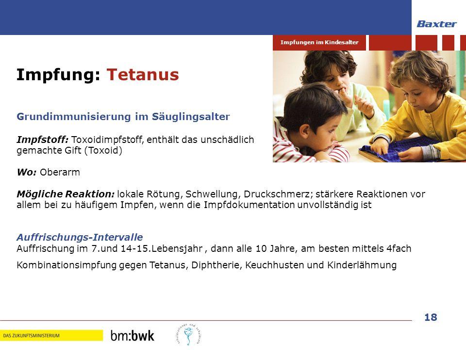 Impfung: Tetanus Grundimmunisierung im Säuglingsalter