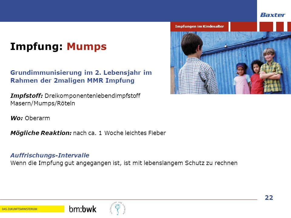 Impfung: Mumps Grundimmunisierung im 2. Lebensjahr im