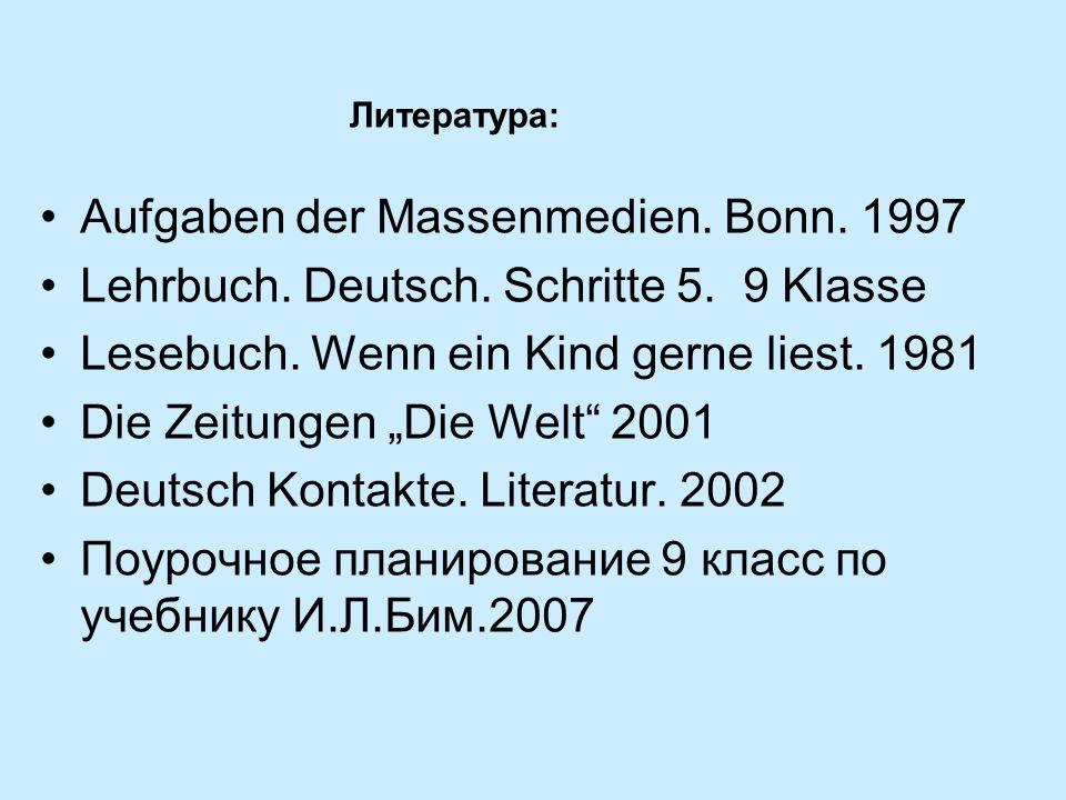 Aufgaben der Massenmedien. Bonn. 1997