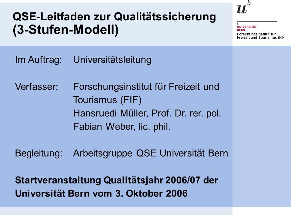 QSE-Leitfaden zur Qualitätssicherung (3-Stufen-Modell)