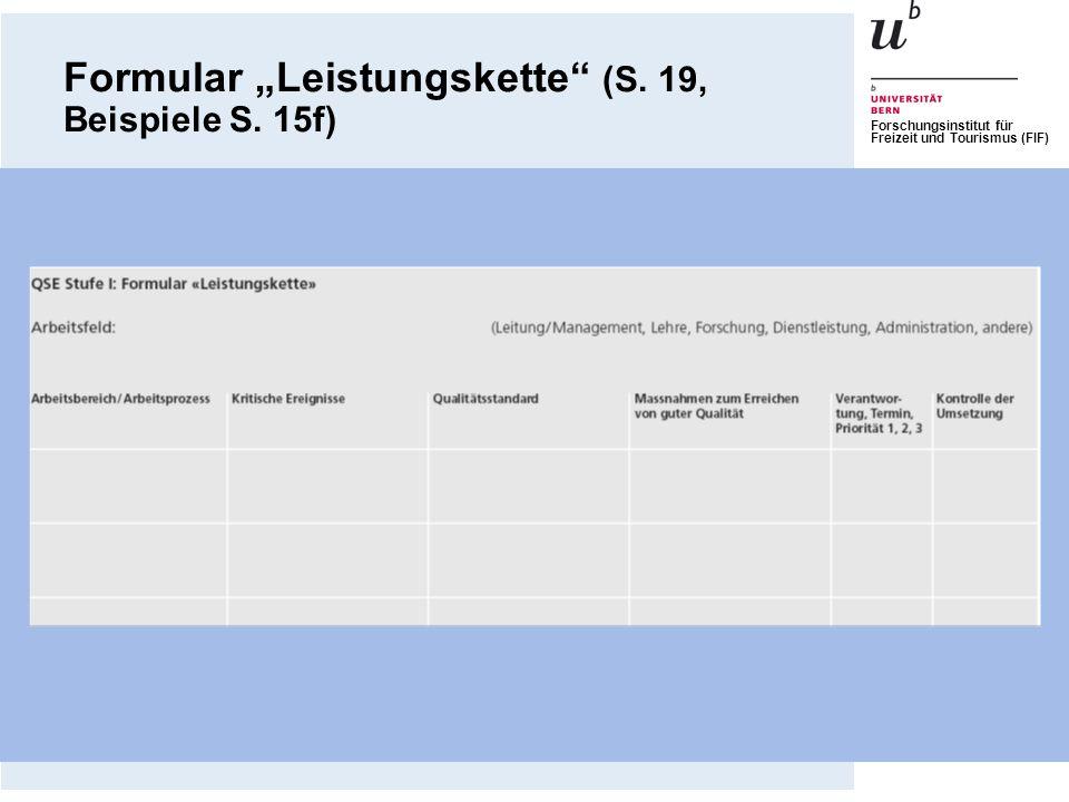 """Formular """"Leistungskette (S. 19, Beispiele S. 15f)"""
