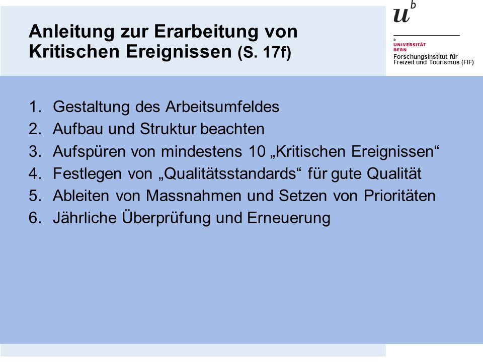 Anleitung zur Erarbeitung von Kritischen Ereignissen (S. 17f)
