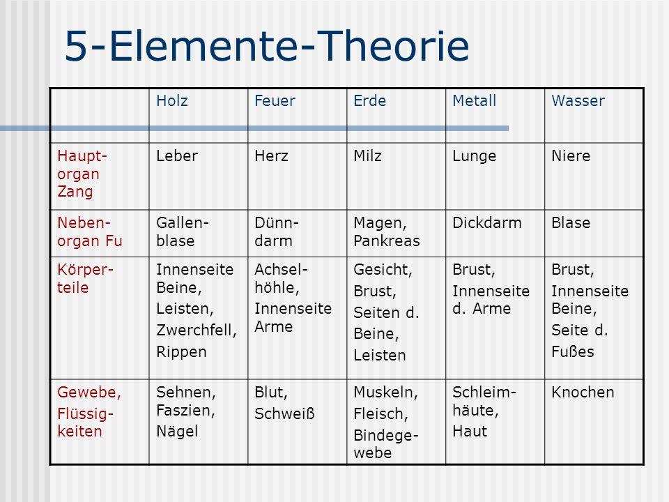 5-Elemente-Theorie Holz Feuer Erde Metall Wasser Haupt-organ Zang