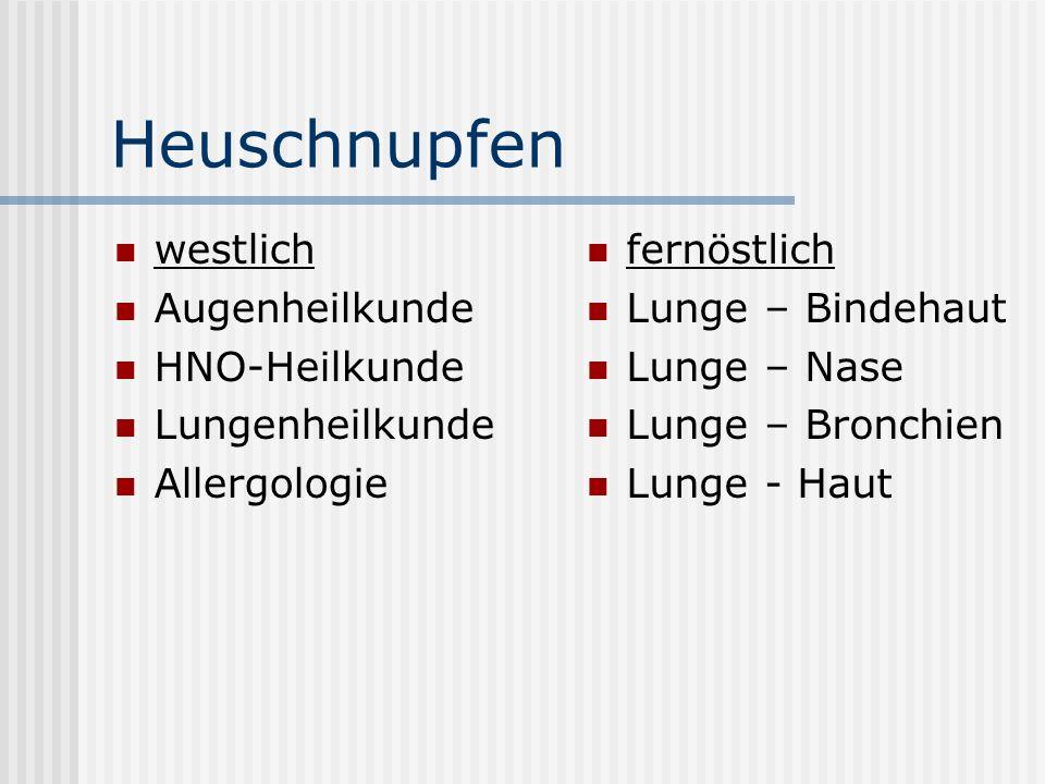 Heuschnupfen westlich Augenheilkunde HNO-Heilkunde Lungenheilkunde
