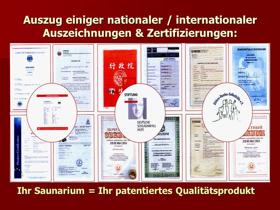 Auszug einiger nationaler / internationaler Auszeichnungen & Zertifizierungen: