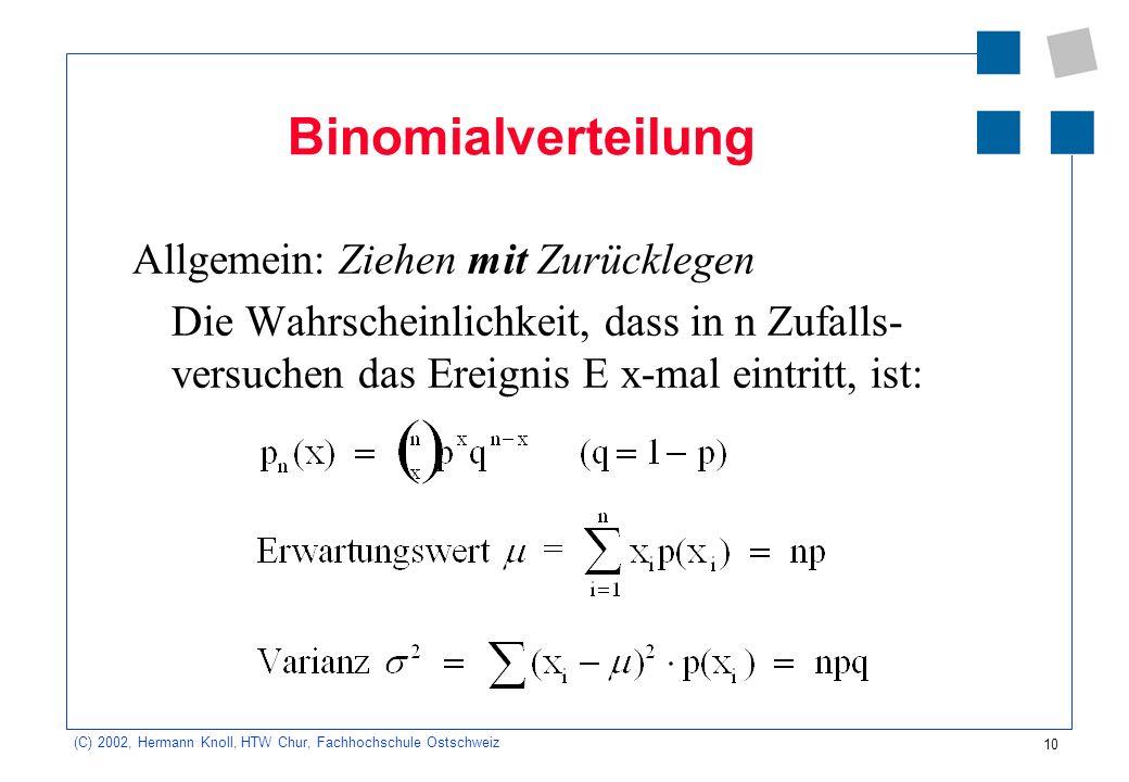 Binomialverteilung Allgemein: Ziehen mit Zurücklegen