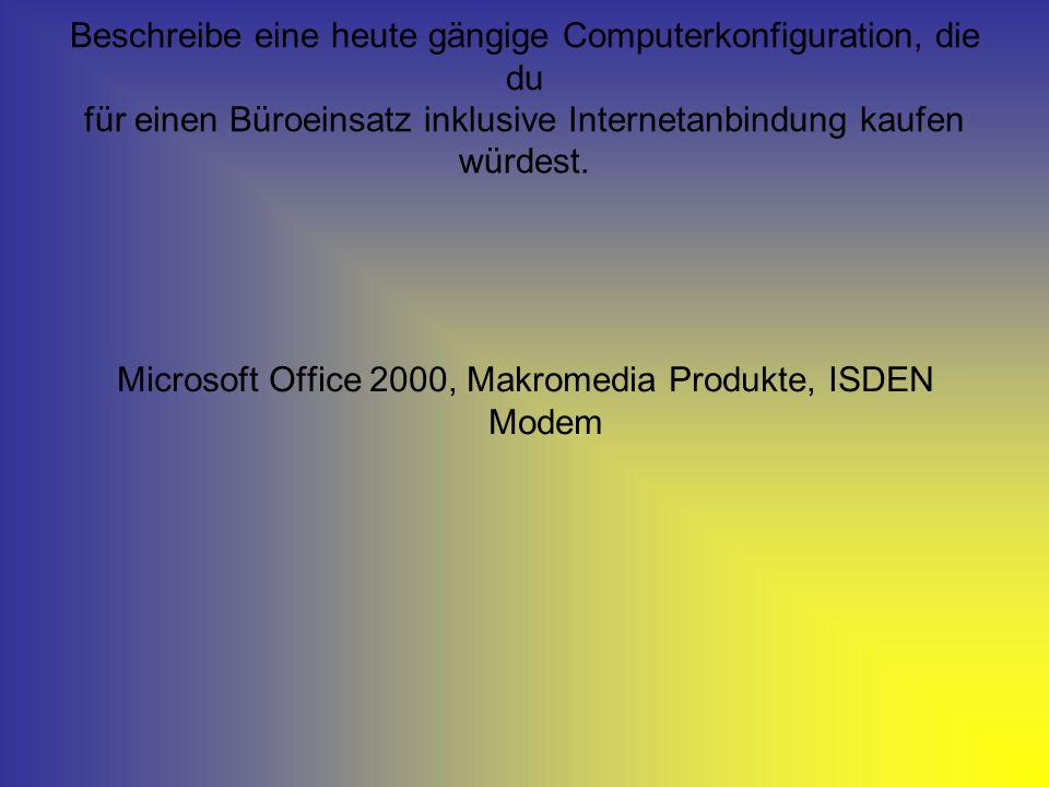 Microsoft Office 2000, Makromedia Produkte, ISDEN Modem
