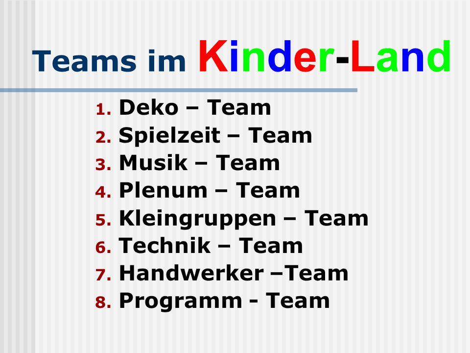 Teams im Kinder-Land Deko – Team Spielzeit – Team Musik – Team