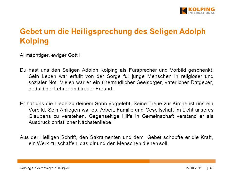 Gebet um die Heiligsprechung des Seligen Adolph Kolping