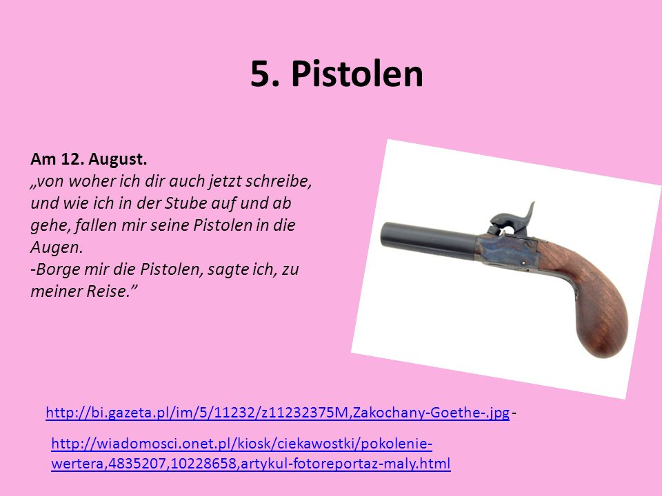 """5. PistolenAm 12. August. """"von woher ich dir auch jetzt schreibe, und wie ich in der Stube auf und ab gehe, fallen mir seine Pistolen in die Augen."""