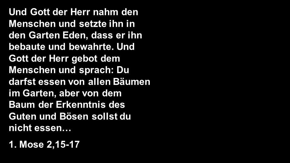 Und Gott der Herr nahm den Menschen und setzte ihn in den Garten Eden, dass er ihn bebaute und bewahrte. Und Gott der Herr gebot dem Menschen und sprach: Du darfst essen von allen Bäumen im Garten, aber von dem Baum der Erkenntnis des Guten und Bösen sollst du nicht essen…