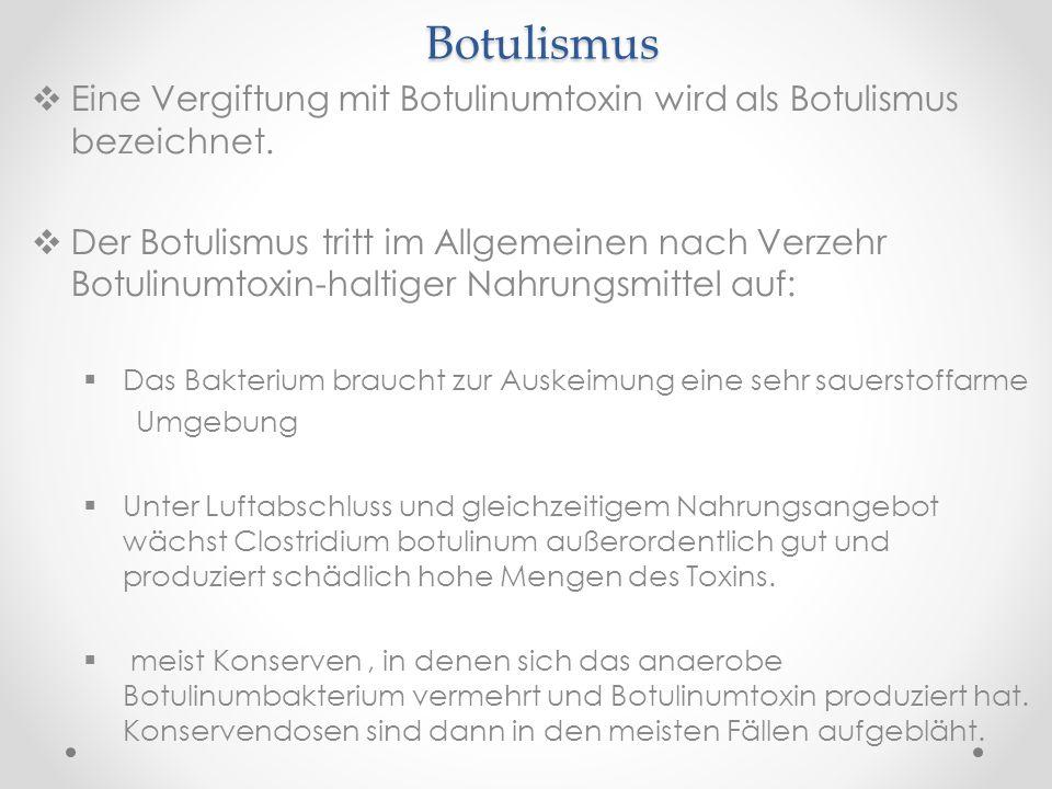 Botulismus Eine Vergiftung mit Botulinumtoxin wird als Botulismus bezeichnet.