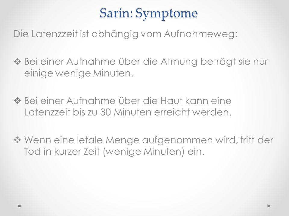Sarin: Symptome Die Latenzzeit ist abhängig vom Aufnahmeweg: