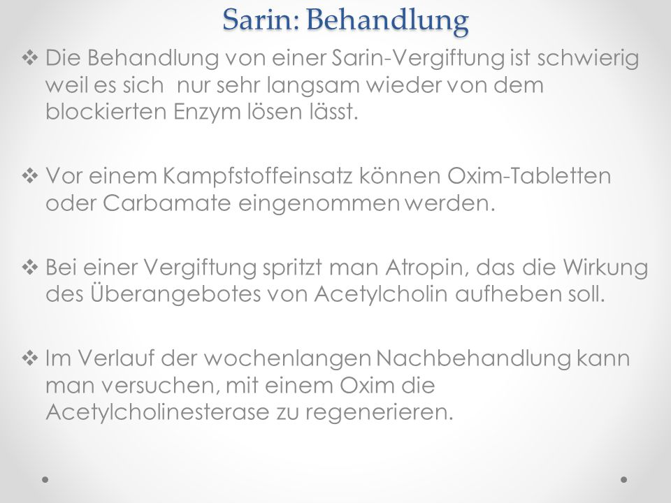 Sarin: Behandlung
