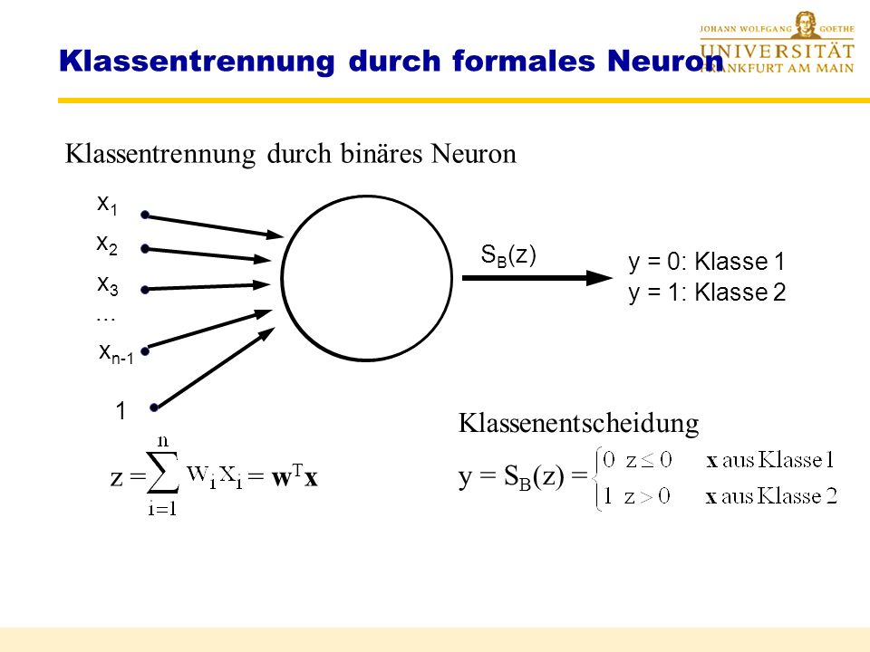 Klassentrennung durch formales Neuron