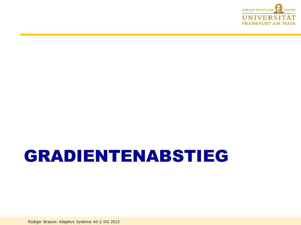 Gradientenabstieg Rüdiger Brause: Adaptive Systeme AS-2 WS 2013