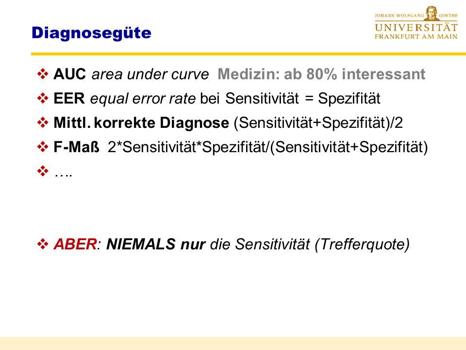 Diagnosegüte AUC area under curve Medizin: ab 80% interessant