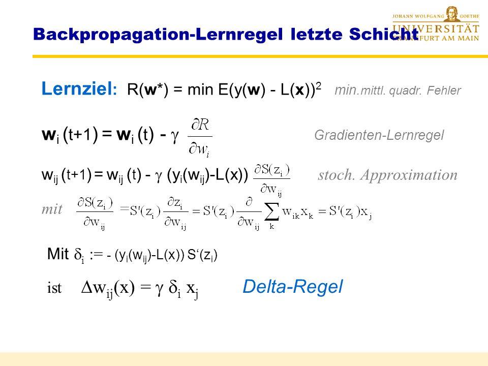 Backpropagation-Lernregel letzte Schicht