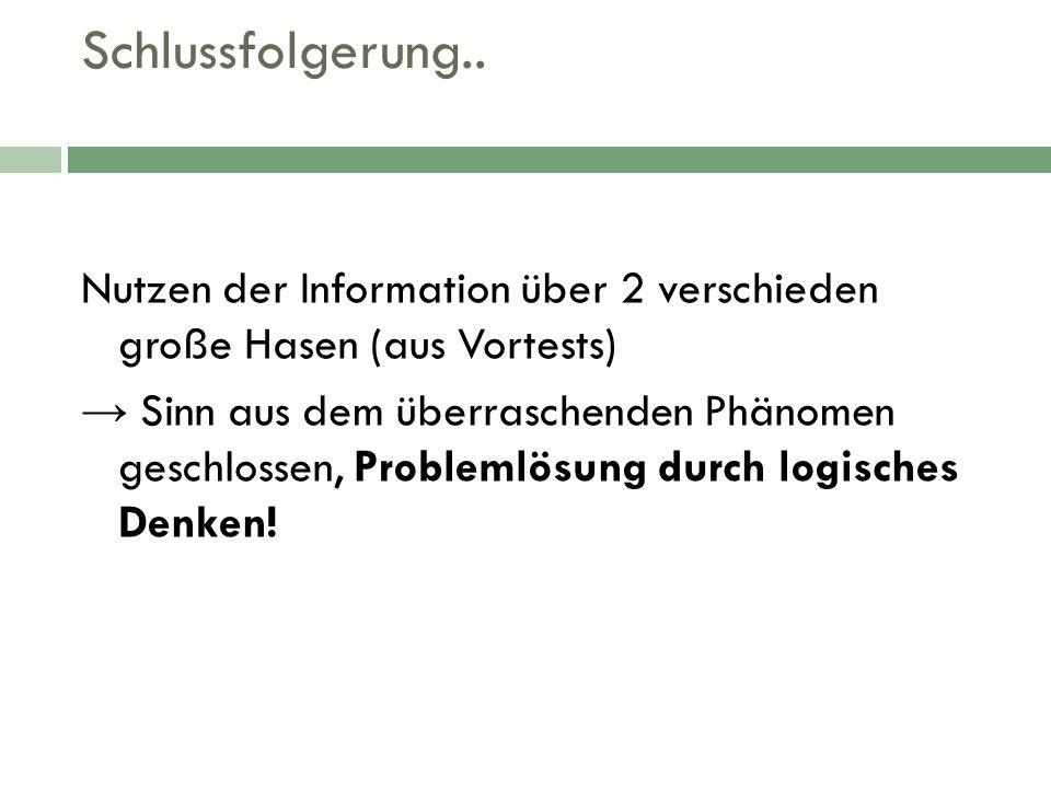 Schlussfolgerung.. Nutzen der Information über 2 verschieden große Hasen (aus Vortests)