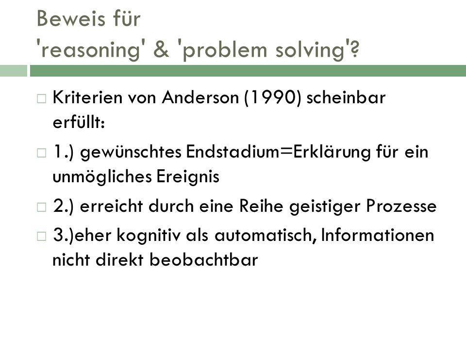 Beweis für reasoning & problem solving