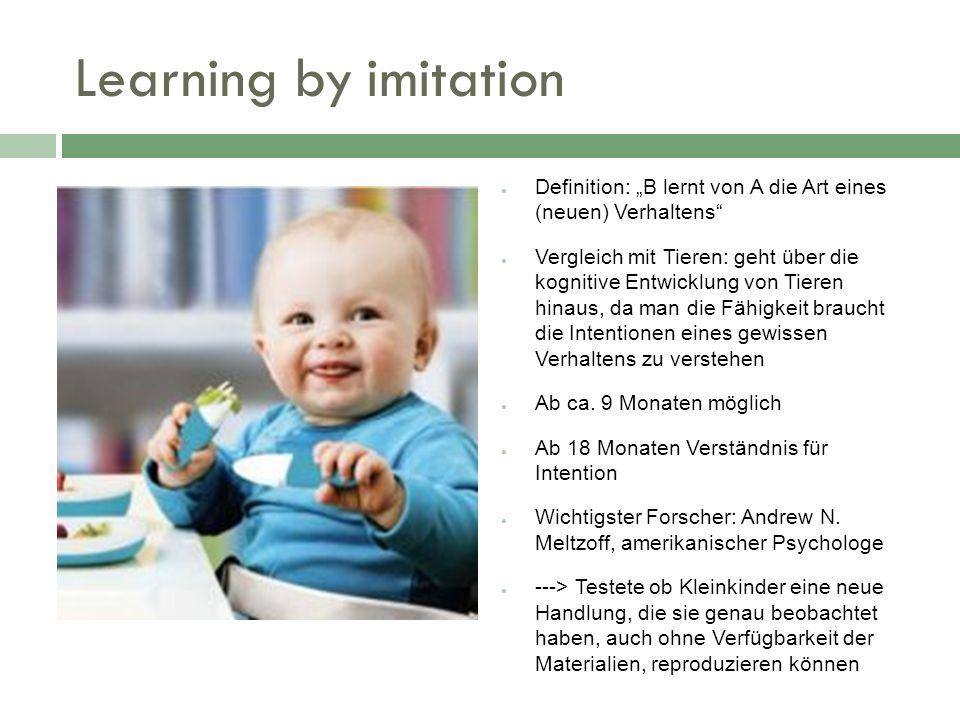 """Learning by imitation Definition: """"B lernt von A die Art eines (neuen) Verhaltens"""
