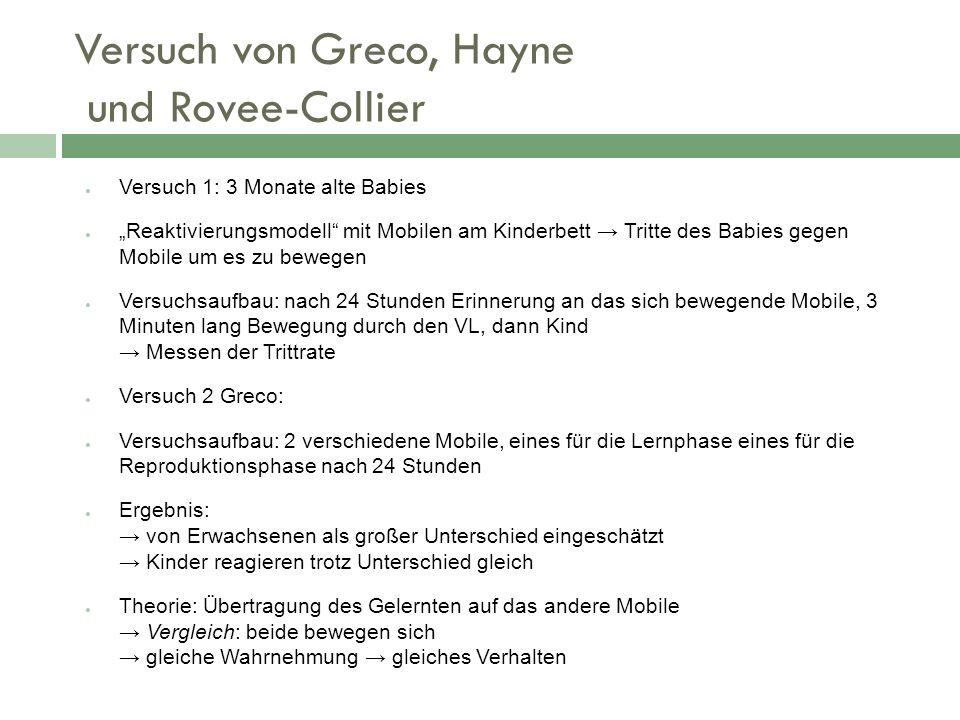 Versuch von Greco, Hayne und Rovee-Collier