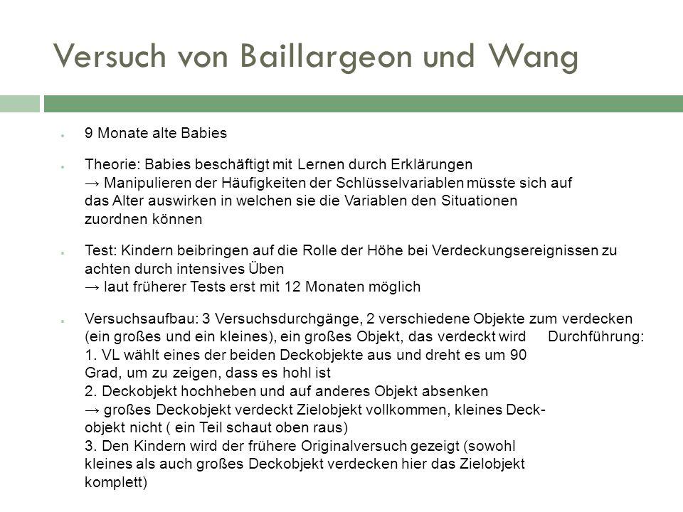 Versuch von Baillargeon und Wang