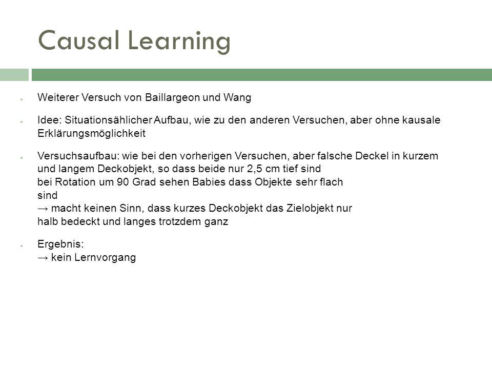 Causal Learning Weiterer Versuch von Baillargeon und Wang