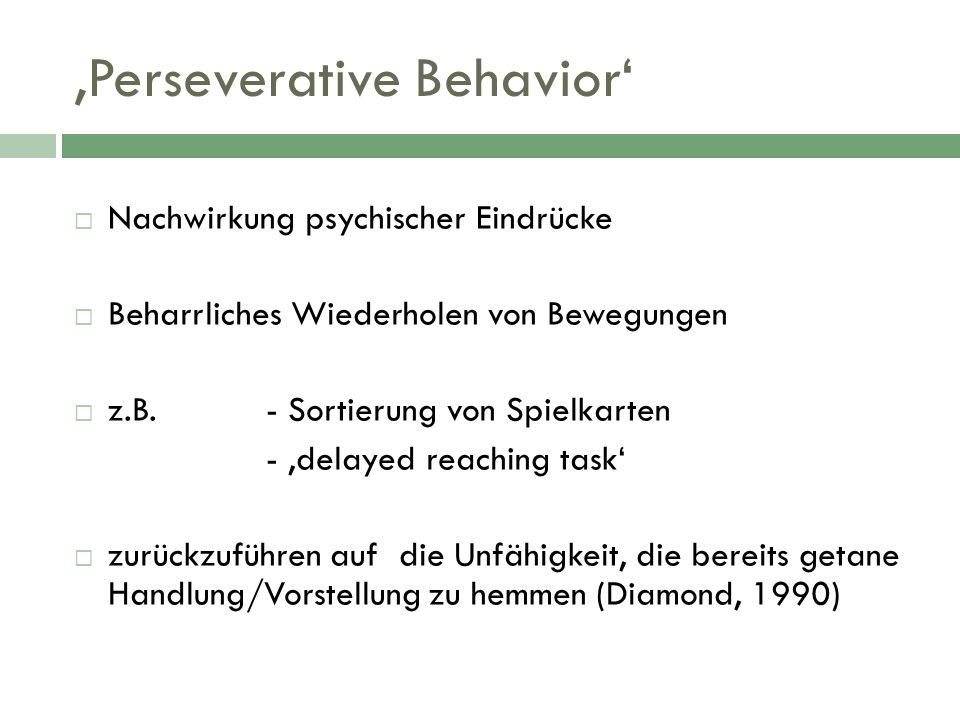 'Perseverative Behavior'