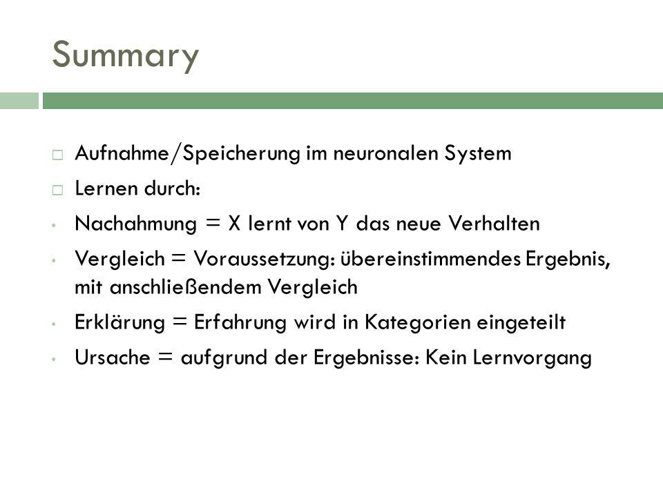 Summary Aufnahme/Speicherung im neuronalen System Lernen durch: