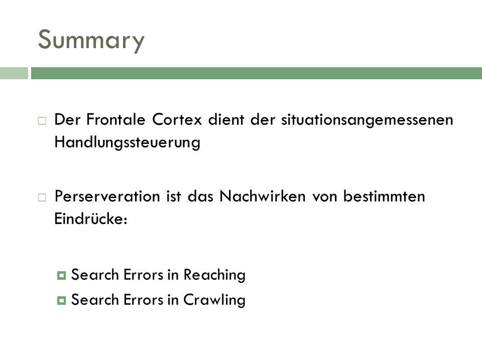 Summary Der Frontale Cortex dient der situationsangemessenen Handlungssteuerung. Perserveration ist das Nachwirken von bestimmten Eindrücke: