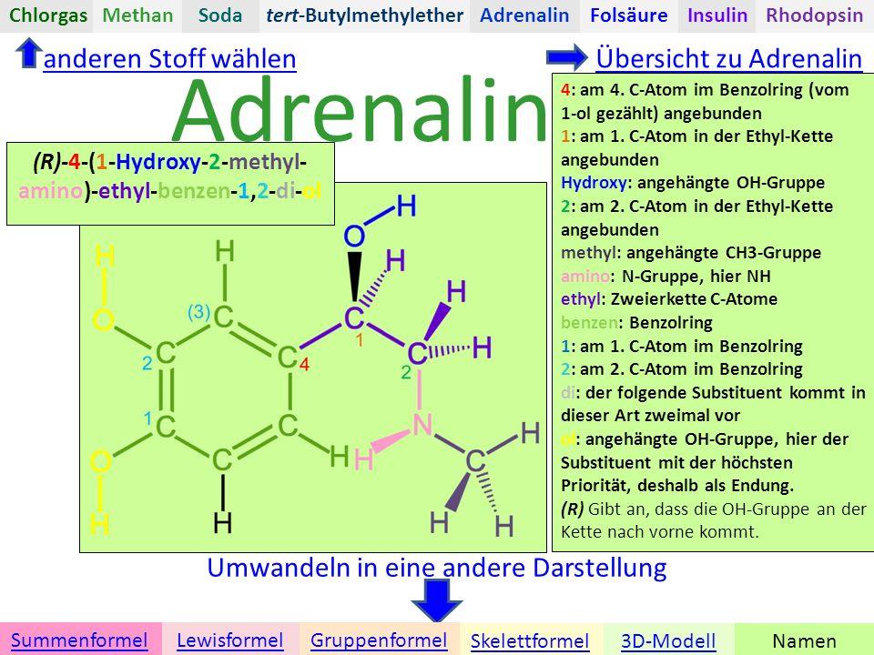 Adrenalin anderen Stoff wählen Übersicht zu Adrenalin