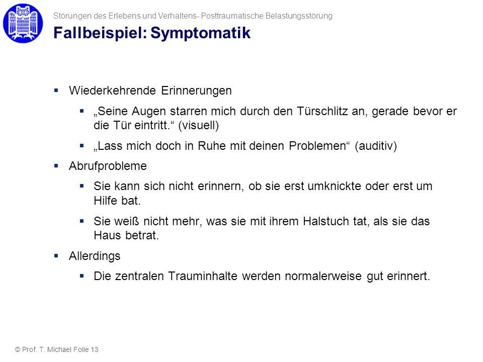 Fallbeispiel: Symptomatik