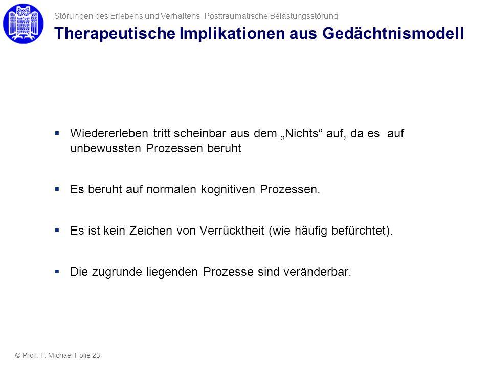 Therapeutische Implikationen aus Gedächtnismodell