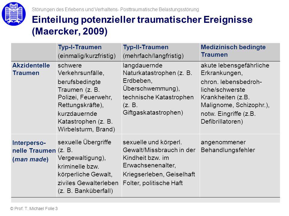 Einteilung potenzieller traumatischer Ereignisse (Maercker, 2009)