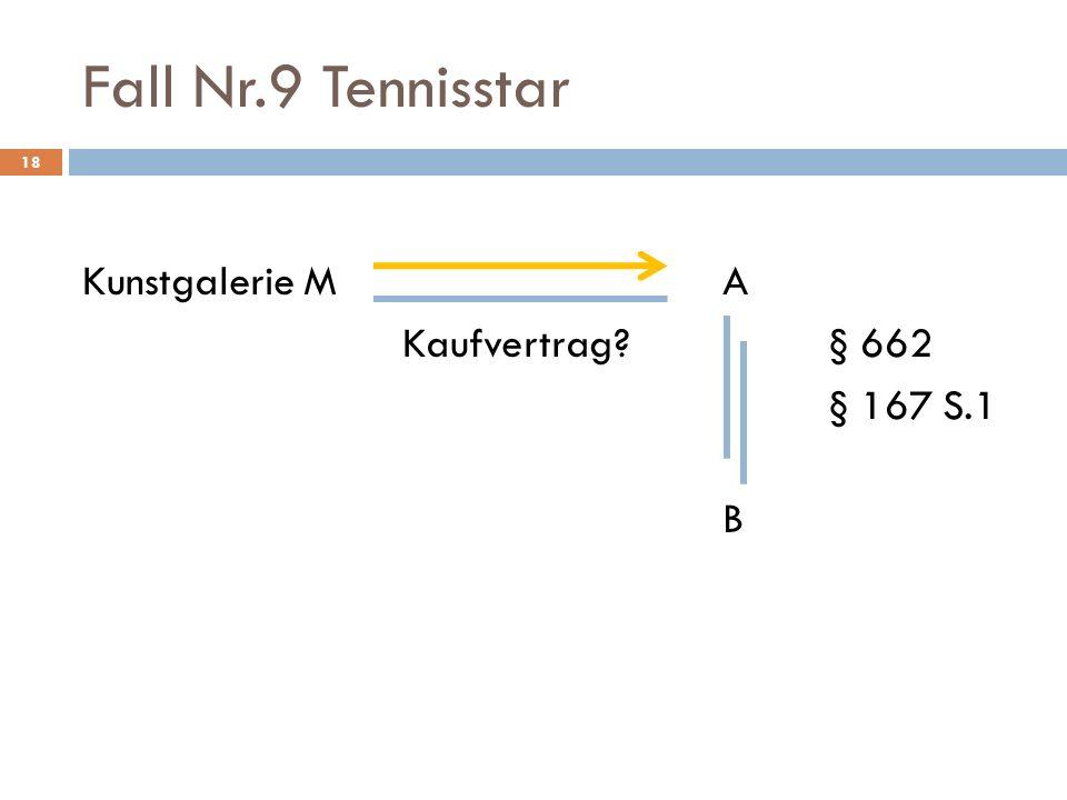 Fall Nr.9 Tennisstar Kunstgalerie M A Kaufvertrag § 662 § 167 S.1 B