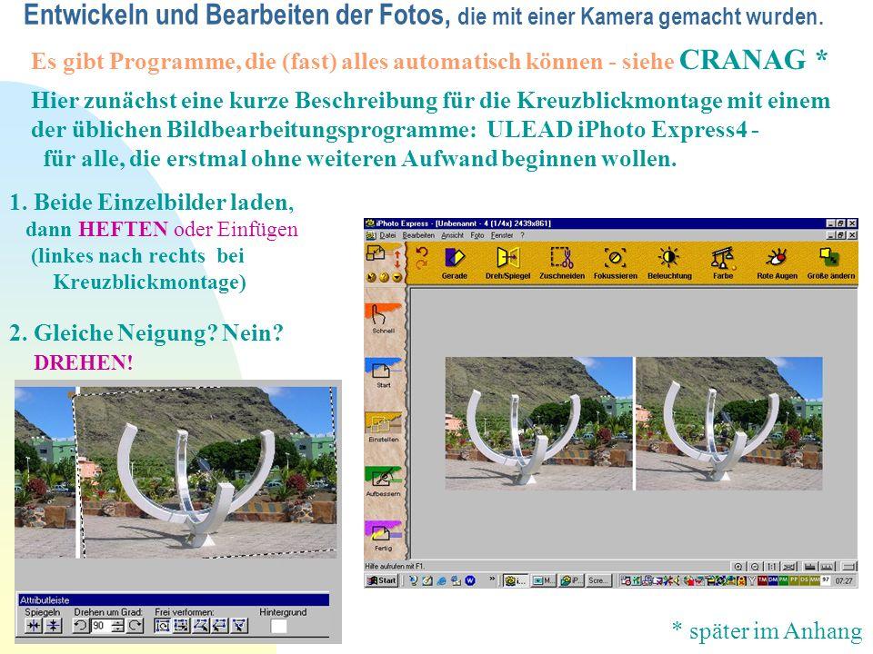 Entwickeln und Bearbeiten der Fotos, die mit einer Kamera gemacht wurden.